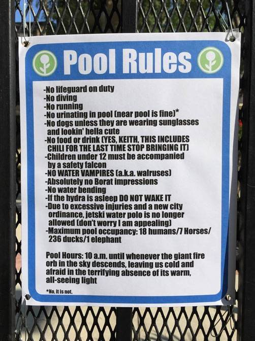 Funny Pool Rules Sign Fence Summer Photo