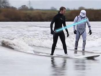 Storm Troopers Surf Tidal Bore Near Movie Set - Surfing News