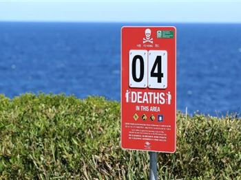 X Deaths in this Area - Rock Fishing Shock Signage - Fishing News