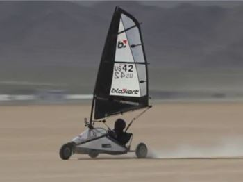 104.6kmph on three wheels. Blokart World Record - Sailing News