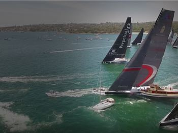 100ft Maxi Sails Between Spectator Boats- only cm to spare! - Sailing News