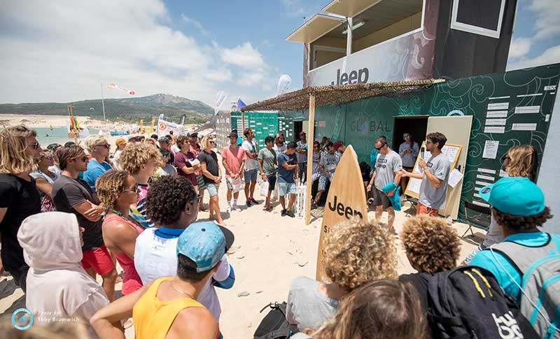 Jeep Tarifa Pro GKA Kiteboarding Air Games riders briefing