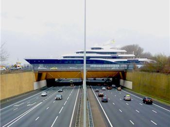101m SuperYacht crosses highway in Netherlands. - Power Boats News