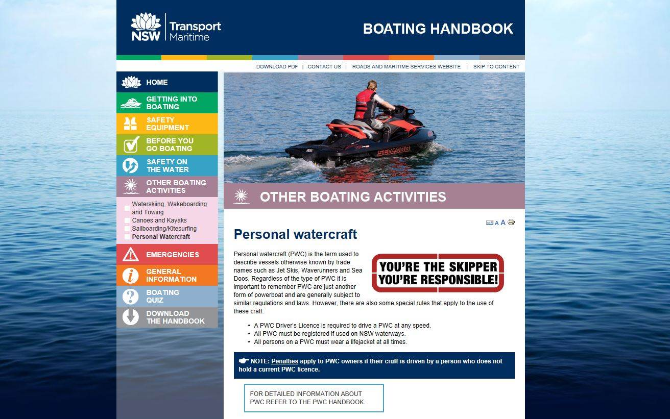 Jet Ski's/Exclusion Zones/Port Hacking/Bay Surf  | Stand Up Paddle