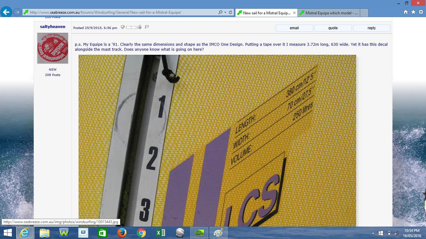Mistral Equipe, which model??? | Windsurfing Forums, page 1